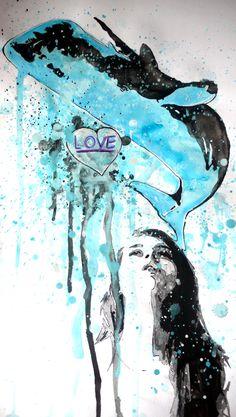 What you whale in the head? (cosa ti balena nella testa?) acrilico su carta 48x33 cm