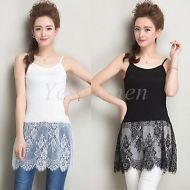 Camisole lace extender tank tops Black,White color
