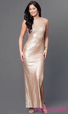 Gold Sequin Long Sleeveless Dress by Emerald Sundae at PromGirl.com