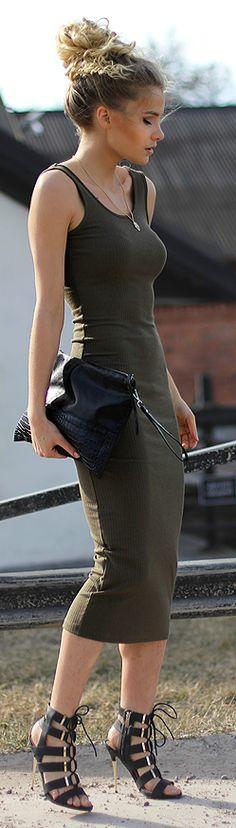 Linda Ryden Army Green Bodycon Midi Dress