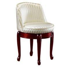 Home Decorators Collection Delmar Ivory Stripe High Back Swivel Vanity Stool