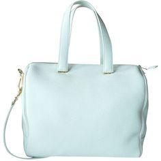 Pre-owned Giorgio Armani Shopping Vitello Granato Calf Leather Retail... ($1,497) ❤ liked on Polyvore featuring bags, handbags, white, calfskin handbag, zipper bag, white handbags, pre owned purses and long purses