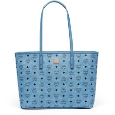 MCM Anya Top Zip Shopper In Visetos ($690) ❤ liked on Polyvore featuring bags, handbags, tote bags, zip top tote, blue handbags, zip top tote bags, mcm handbags and shopper handbag