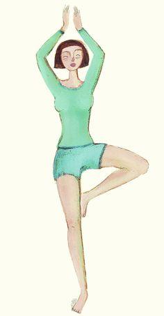 L'albero. A piedi uniti, gambe dritte, si stacca il piede sinistro dal suolo, si cerca l'equilibrio, si porta la pianta del piede a contatto con la parte interna della coscia destra, si alzano le braccia fino a far giungere le mani sopra il capo, come fossero la chioma di un albero. Si rimane nella posizione per alcuni respiri, poi si ripete in appoggio sul piede sinistro. L'albero fortifica il sistema nervoso e sviluppa il senso di equilibrio.