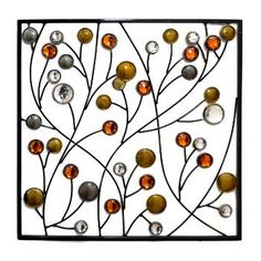 Square Metal Branch Wall Art with Gems