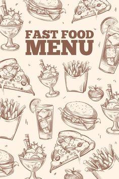 Fast food doodles vector background. Vintage Design. $5.00