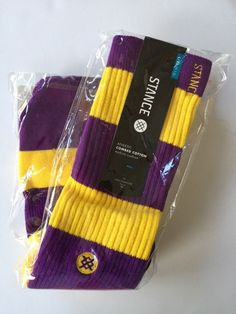 Mens Stance Athletic Socks Combed Cotton Yellow Purple La Brea Lakers   eBay