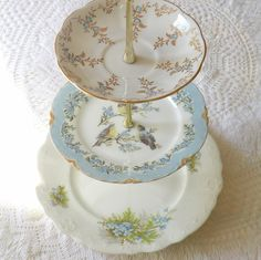 tiered serving stand made with pretty plates
