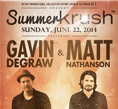 Join #GavinDeGraw and #MattNathanson, with special guest Mary Lambert for Summer Krush at the Avila Beach Golf Resort on Sunday, June 22nd. This is an all ages event and gates will open at 1pm.