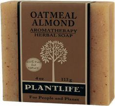 Oatmeal Almond 100% Pure & Natural Aromatherapy Herbal Soap- 4 oz (113g) by Plantlife. $3.95. A great soap for those sensitive to smell. Gentle enough for all skin types.. Contains organic oatmeal to soothe and moisturize the skin and ground almonds to gently exfoliate.. Oatmeal Almond eliminates itchy, flaky skin the natural way.. Pure and Natural, Nothing Synthetic. Our soaps are made the old-fashioned way. They are hand-crafted using natural ingredients and include pure ess...