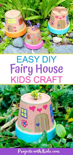 These fairy houses are just adorable and they couldn't be easier for kids to make. A great summer craft idea for the garden! garden for kids Easy DIY Fairy House Kids Craft Summer Crafts For Kids, Spring Crafts, Crafts For Teens, Diy For Kids, Garden Crafts For Kids, Kids Outdoor Crafts, Garden Ideas Children, Summer Ideas Kids, Things For Kids