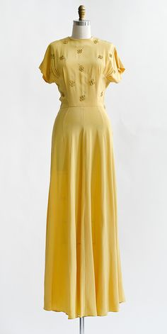 Golden Reveries Dress | Vintage 1940s golden yellow rayon gown with appliqués  #1940s #vintagedress