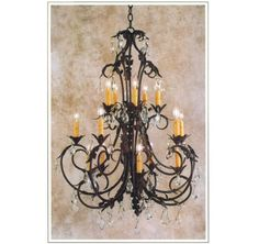 """10178-33-C  FIFTEEN LIGHT THREE TIER IRON CHANDELIER CRYSTAL: SHOWN WITH IMPORTED FACETED CRYSTAL, AVAILABLE WITH CUT OR TEARDROP CRYSTAL FINISH SHOWN: PUEBLO ANTIQUE PAPER CANDLES HT 39.5"""" WITH CRYSTAL HT 36"""" W/O CRYSTAL W 33"""" CANDELABRA BASE SOCKETS  MAXIMUM WATTAGE: 900 APPROX. WEIGHT 27 LBS"""