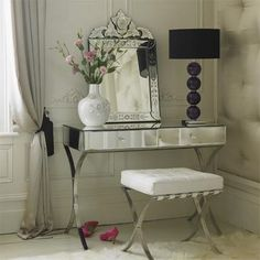 glass dressing table black table lamp