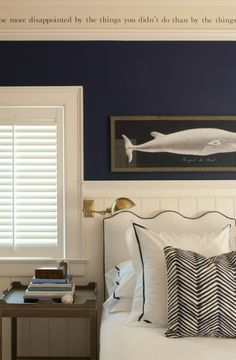 Navy.  Love the Oomph headboard and the Quadrille Zig Zag fabric!