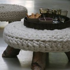 love this. my knitting sucks, but fabric on top wouldn't be bad...and the legs are just cut birch tree stems...