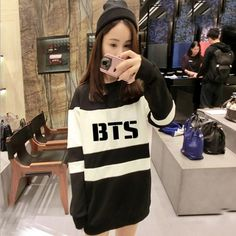 Feel+cute+and+comfy+in+this+dress-length+sweatshirt!+ On+the+front+you+can+choose+between+having+BTS+or+the+Bangtan+member's+name.  For+quicker+processing+time,+use+PAYPAL+and+buy+here:+https://keuphonii.storenvy.com/products/15552897-bts-loose-sweatshirt  One+size!  Length:+70cm Sleeve:+...