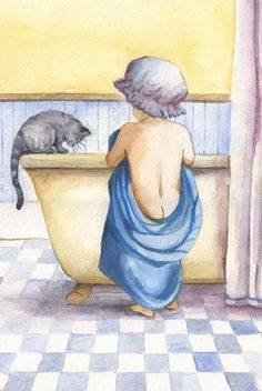 by faye whittaker Watercolour Painting, Painting & Drawing, Vintage Illustration, Vintage Drawing, Decoupage Vintage, Bathroom Art, Bathroom Canvas, Tatty Teddy, Art Themes