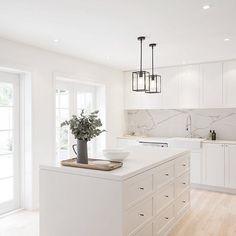 Basic white kitchen with grey marbling backsplash Home Decor Kitchen, Kitchen Interior, New Kitchen, Kitchen White, Kitchen Ideas, Kitchen Small, Kitchen Modern, White Contemporary Kitchen, Crisp Kitchen