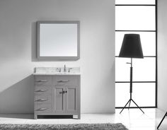 Virtu USA Caroline Parkway Single Bathroom Vanity with Right Offset Round Sink, White Small Bathroom Vanities, Single Sink Bathroom Vanity, Bath Vanities, Round Sink, Brushed Nickel Faucet, Square Sink, Concealed Hinges, Vanity Set With Mirror, Chrome Handles