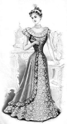 Dinner dress, 1898, The Delineator