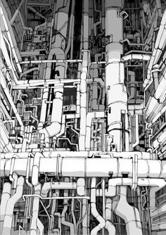 The Industrial Wonders Of ASTGraphics (Awesome Robo! Environment Concept Art, Environment Design, Katsuhiro Otomo, Mad Max Fury Road, Cyberpunk Art, Science Fiction Art, Sci Fi Art, Manga Art, Diorama