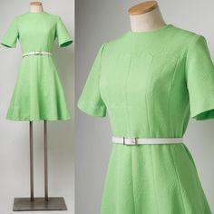 Mod Dress Vintage Green Dress Mad Men by TrendyHipBuysVintage