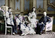 Xenia (sister of Tsar Nicholas II) and her husband Grand Duke Alexander Mikhailovich with their 7 children (birth order) Princess Irina , Princes Andrei , Feodor, Nikita ,Dmitry, Rostislav, Vasily. All the family survived the revolution.