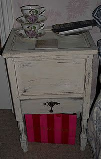 an old sewing box I painted ASCP old white