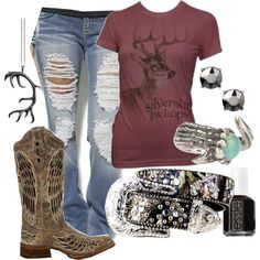 would wear this without the jewelry but love the boots shirt and jeans and   belt