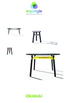 Okidoki tables and chairs can easily transition from home to office, with the cheeky, fun design. Featuring solid timber and aluminium framework. Cafe Tables, Table And Chairs, A Table, Powder Coat Colors, White Stain, Black Stains, Walnut Stain, Office Interiors, Cool Furniture