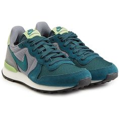 Nike Internationalist Leather and Mesh Sneakers ($110) ❤ liked on Polyvore featuring shoes, sneakers, green, round cap, nike footwear, green sneakers, nike and mesh sneakers