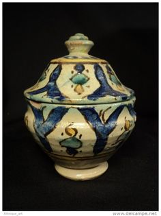 Petite Jobbana 19ème Faience Marocaine de Fès Poterie Afrique du Nord Islamique ceramic Fez