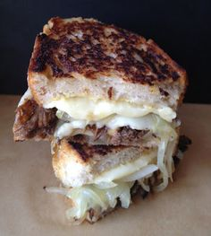 Braised Short Rib Grilled Cheese. Tender braised short ribs, caramelized onions, and lots of melting cheese. EPIC.
