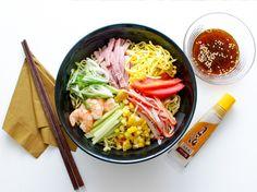Hiyashi Chuka (Cold Ramen) With Shrimp, Ham, and Vegetables
