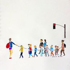 """Children are crossing a big street. When the light goes green, teacher asks """"Is everyone holding the rope?"""" Firmly holding the rope, they follow the teacher. There are adults in the front, middle and in the end. Grandpa feels at ease seeing this because Astro also must be going to the kindergarten in a few years... #drawing #watercolor #children #crossingbigstreet #teachers #holdingrope  Crianças estão atravessando uma rua grande. Quando o sinal abre a professora pergunta """"Todo mundo está…"""