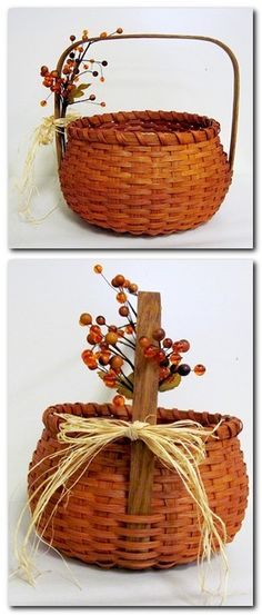 Woven Designs- I made a pumpkin basket like this today! It came out so pretty. And Julie is such a great teacher. Old Baskets, Wicker Baskets, Weaving Art, Hand Weaving, Basket Weaving Patterns, Holiday Baskets, Pine Needle Baskets, Basket Crafts, Weaving Techniques