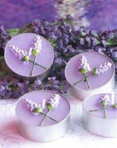 Lavender Flower Tea Light Candles (6 candles/box) #lilacweddings #lavenderweddings #weddingfavors