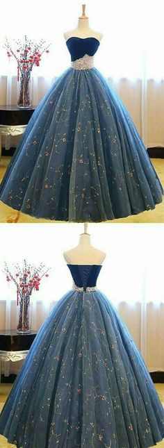 Blue sweetheart neck tulle long prom gown, blue sweet 16 dress, modest prom dress, formal dresses, wedding gown Source by frederikehedtfe gowns Sweet 16 Dresses Blue, Blue Lace Prom Dress, Dark Blue Prom Dresses, Prom Dresses 2018, Long Prom Gowns, Ball Gowns Prom, Ball Dresses, Modest Dresses, Pretty Dresses