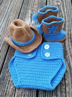 PATTERN instant download SET Diaper cover, cowboy boot booties, Cowboy hat pattern. infant photo prop costume  $6.99