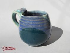 Ceramic Mug  Blue SeafoamTeal and Purple by MudbugCreations, $15.00