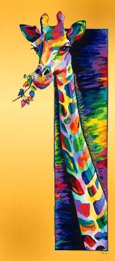 Cool colourful giraffe painting.