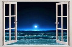 Moonlight Sea 3D Window View Decal WALL STICKER Art Mural Beach Waves Ocean Moon