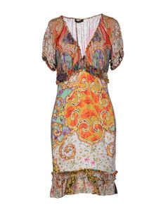 Roberto Cavalli Short Dress in Multicolor (Orange)