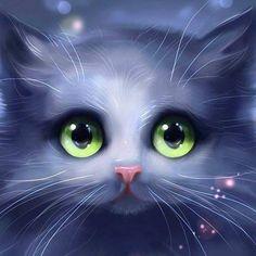 Cute cat – DIY diamond painting - Cats and Dogs House Anime Animals, Cute Animals, I Love Cats, Cute Cats, Art Kawaii, Kawaii Cat, Image Chat, Photo Chat, Cute Animal Drawings
