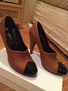 Prince Oliver European Designer Leather Shoes Booties Heels EU39 Brown Black  #PrinceOliver #Booties #WeartoWork