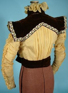 c. 1897/1898 Victorian Bodice of Yellow Silk Crepe and Brown Velvet with Embroidery