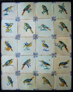 20 Antique 1640 Dutch delft delftware polychrome bird tiles carreau, ext rare