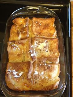 French Toast Bake. This is the BEST baked French toast PIN! It was easy to make and gone in seconds! So good you barely need syrup-aboriginal TRUE