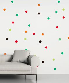 Rainbow Polka Dot Wall Decal - Set of 84